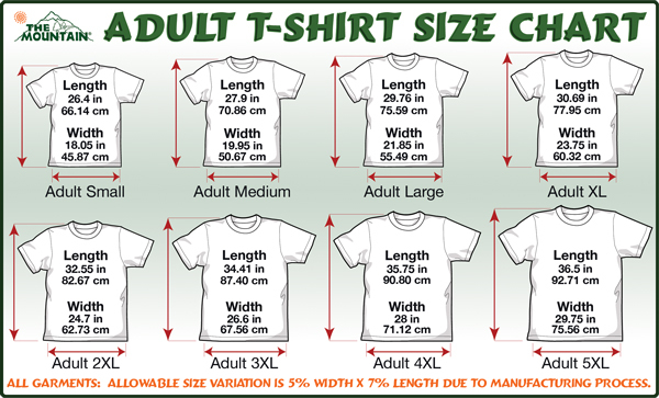 Mountain T-Shirt-Size Chart